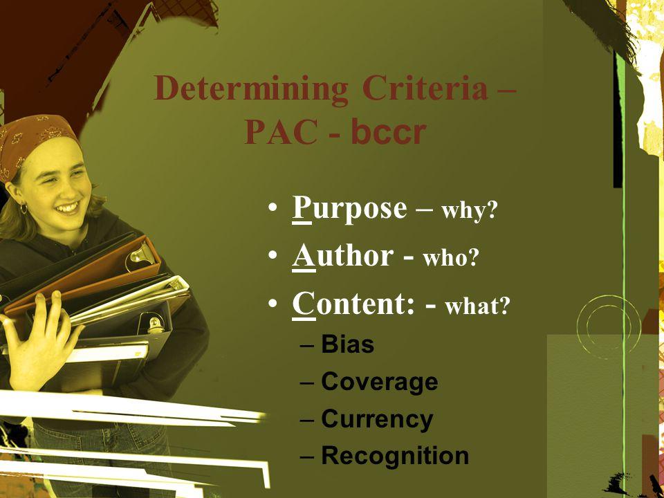 Determining Criteria – PAC - bccr