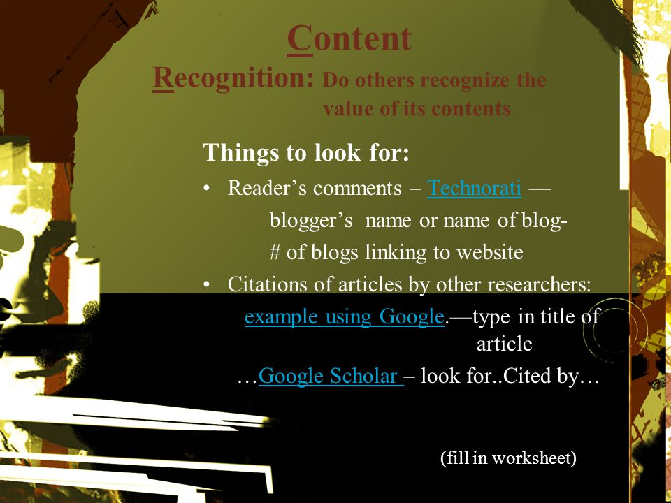 Content Recognition: Do others recognize the value of its contents