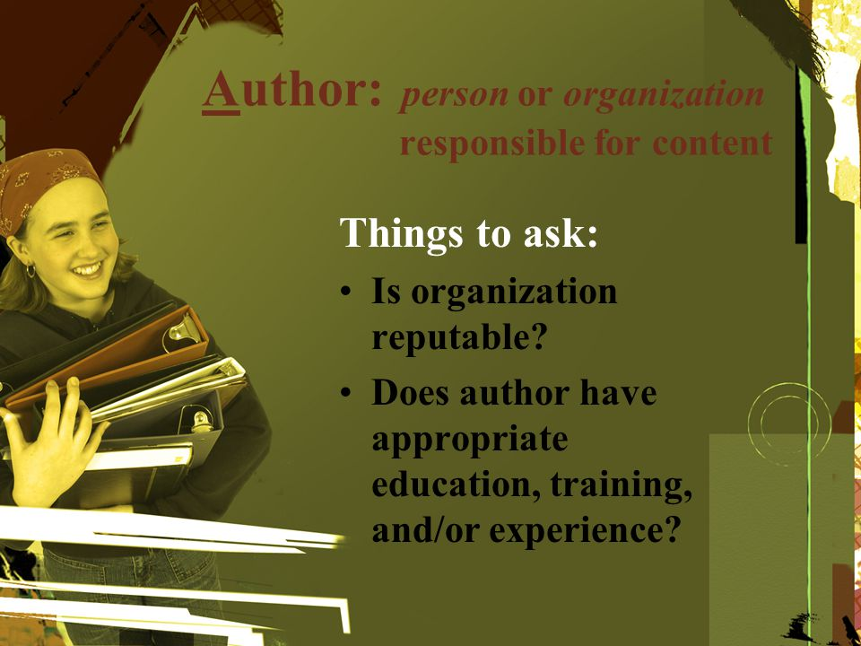 Author: person or organization responsible for content