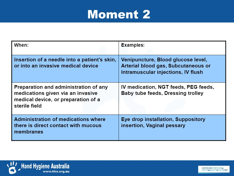 Moment 2 When: Examples: Insertion of a needle into a patient's skin, or into an invasive medical device.