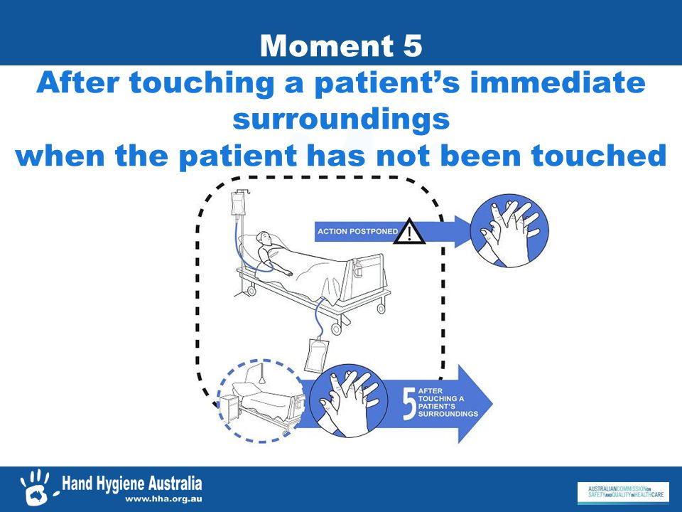 Moment 5 After touching a patient's immediate surroundings when the patient has not been touched
