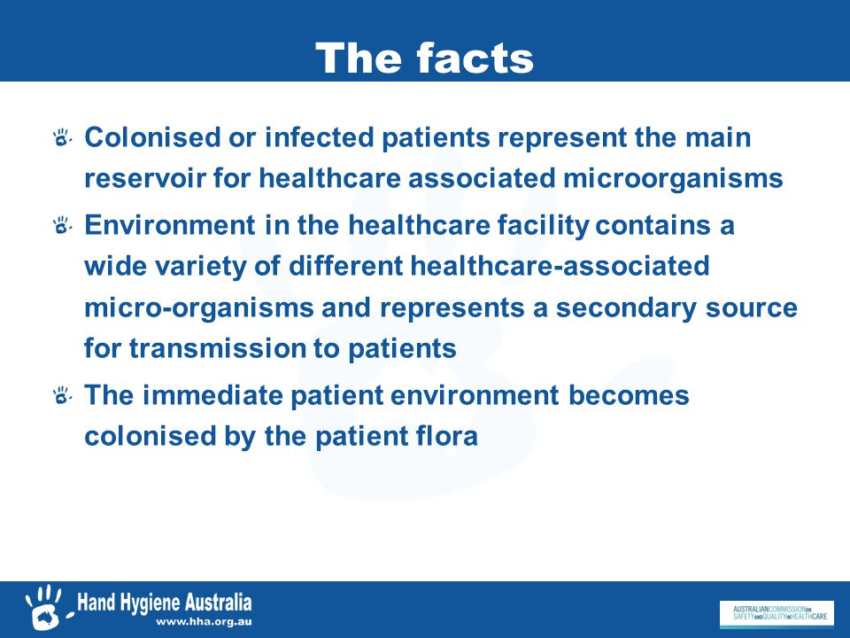 The facts Colonised or infected patients represent the main reservoir for healthcare associated microorganisms.