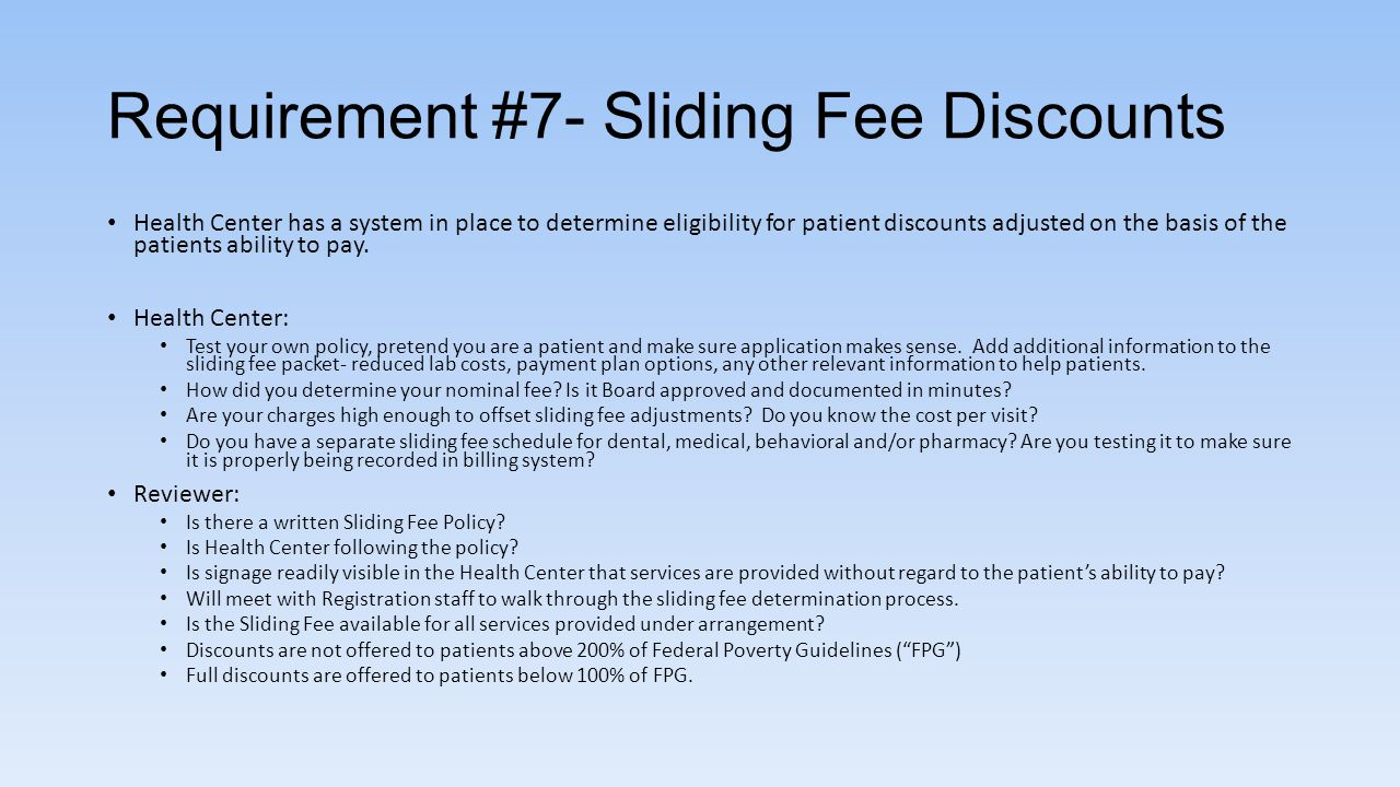 Requirement #7- Sliding Fee Discounts