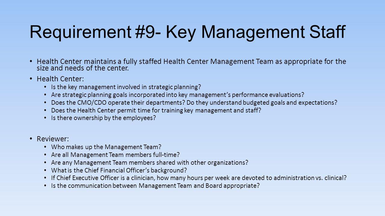 Requirement #9- Key Management Staff