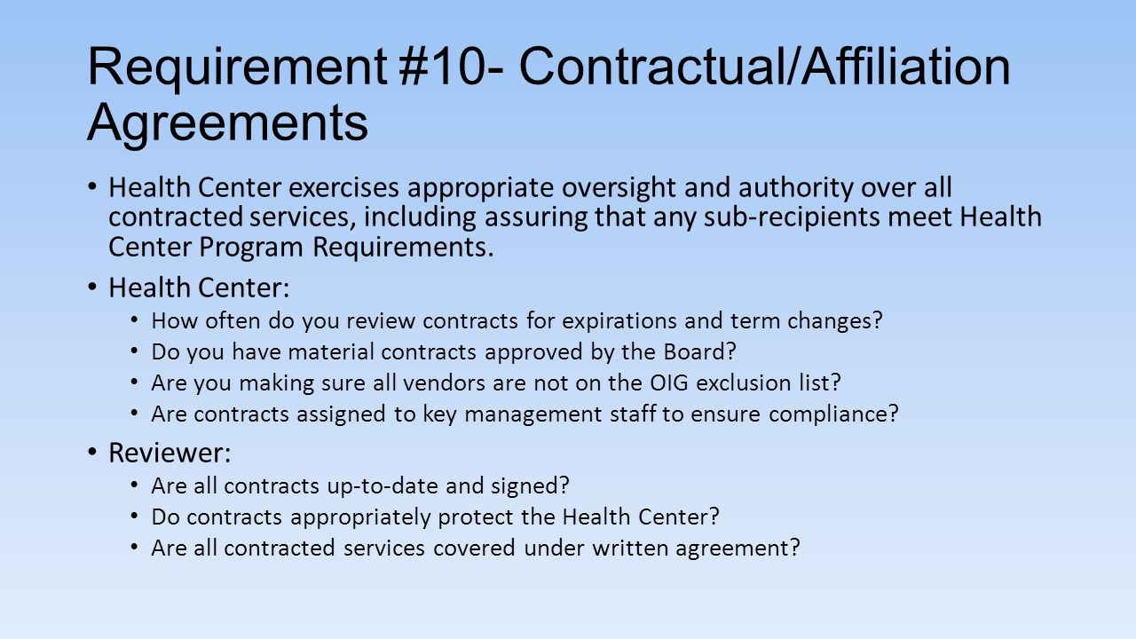 Requirement #10- Contractual/Affiliation Agreements