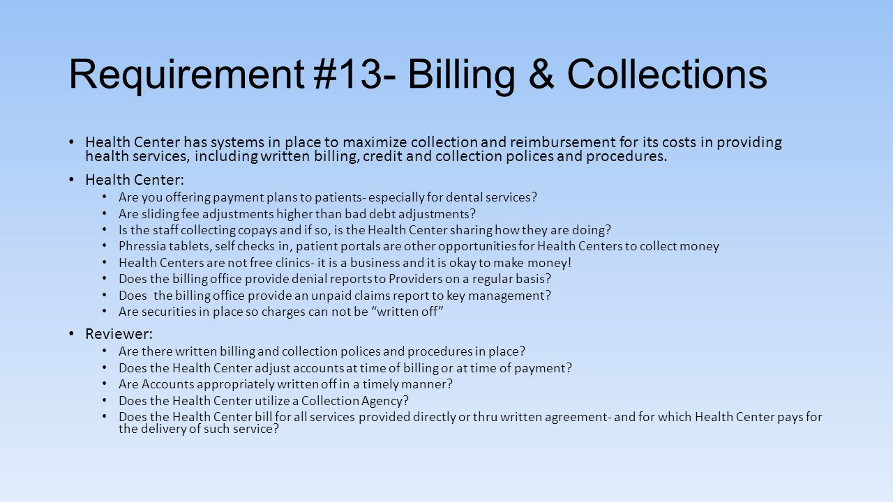 Requirement #13- Billing & Collections