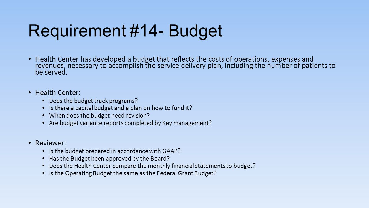 Requirement #14- Budget