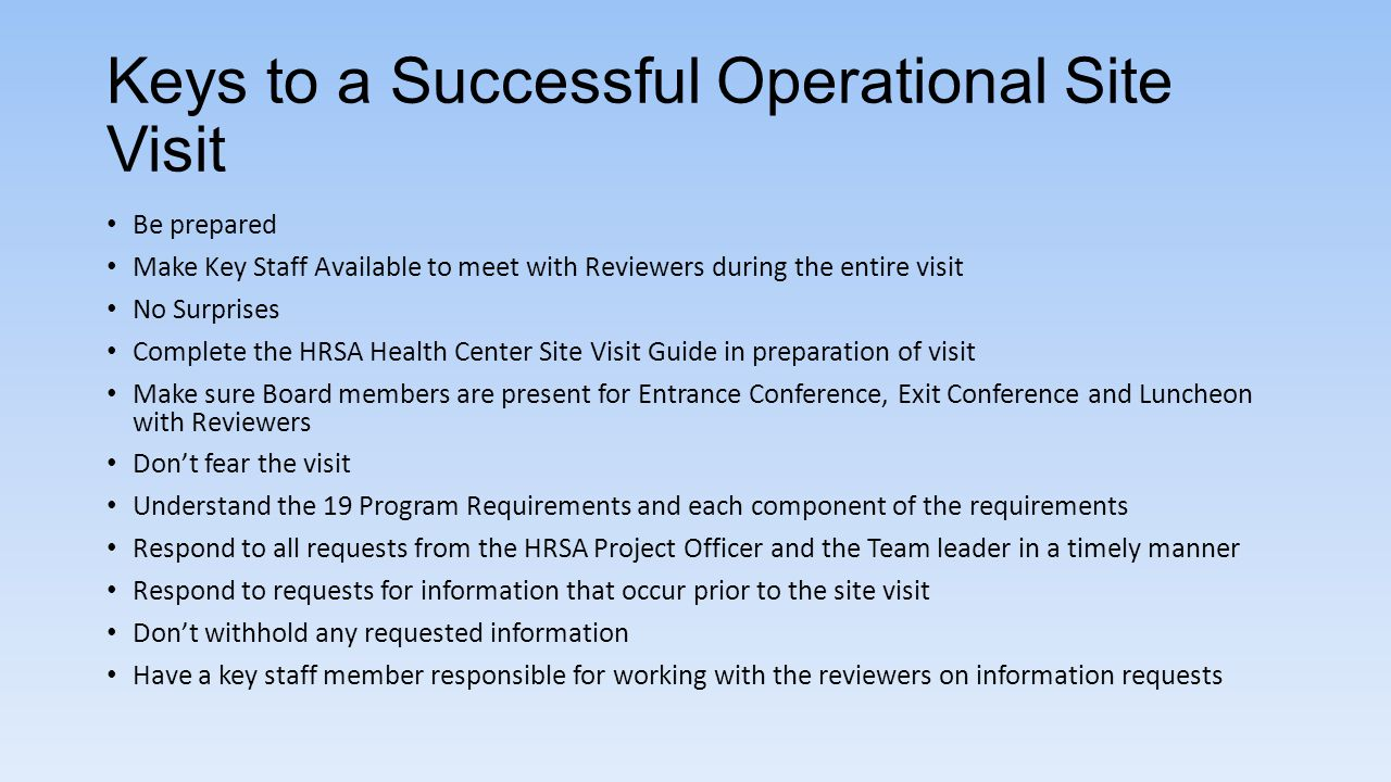 Keys to a Successful Operational Site Visit