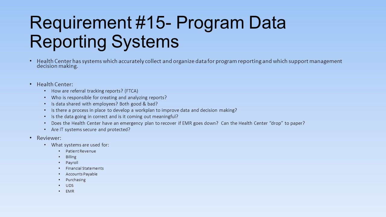 Requirement #15- Program Data Reporting Systems