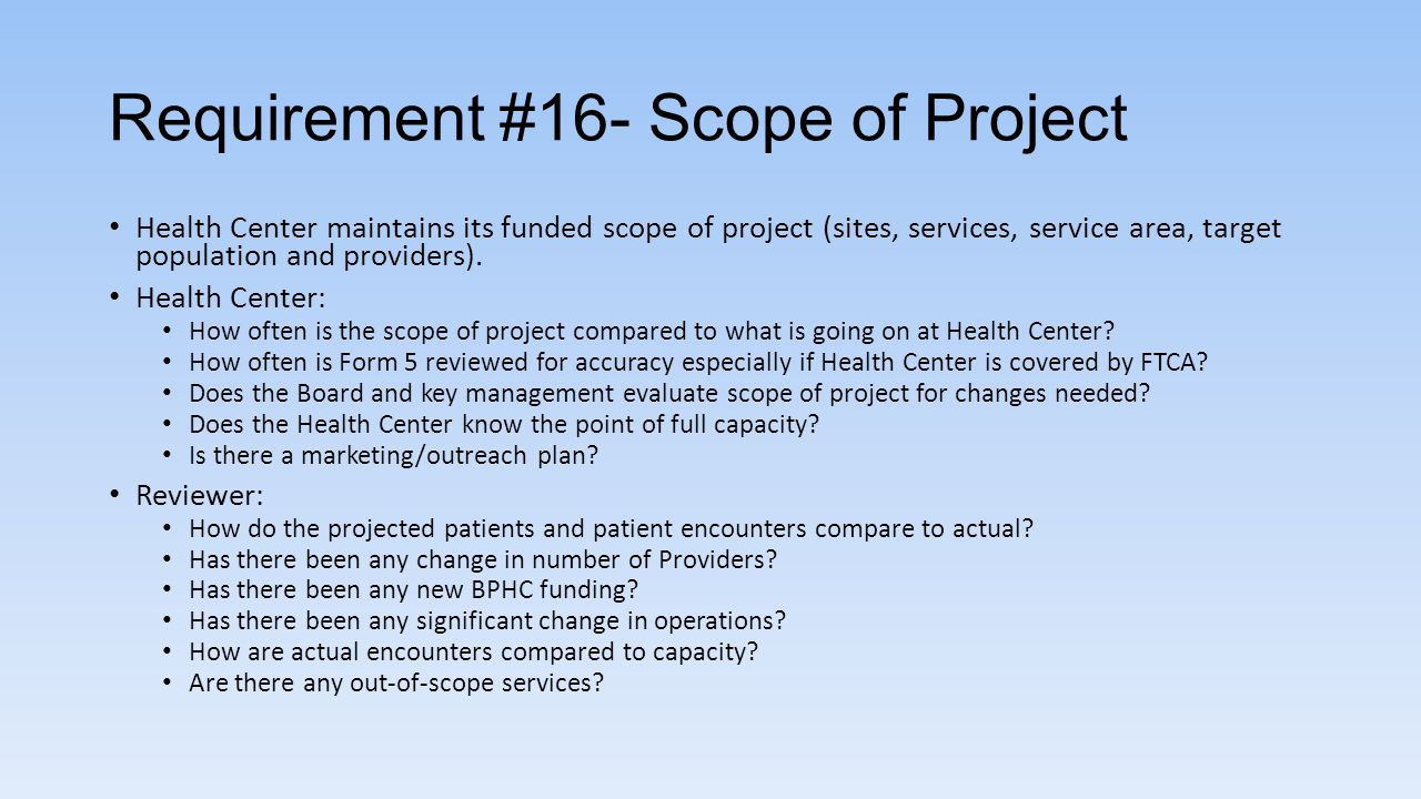 Requirement #16- Scope of Project