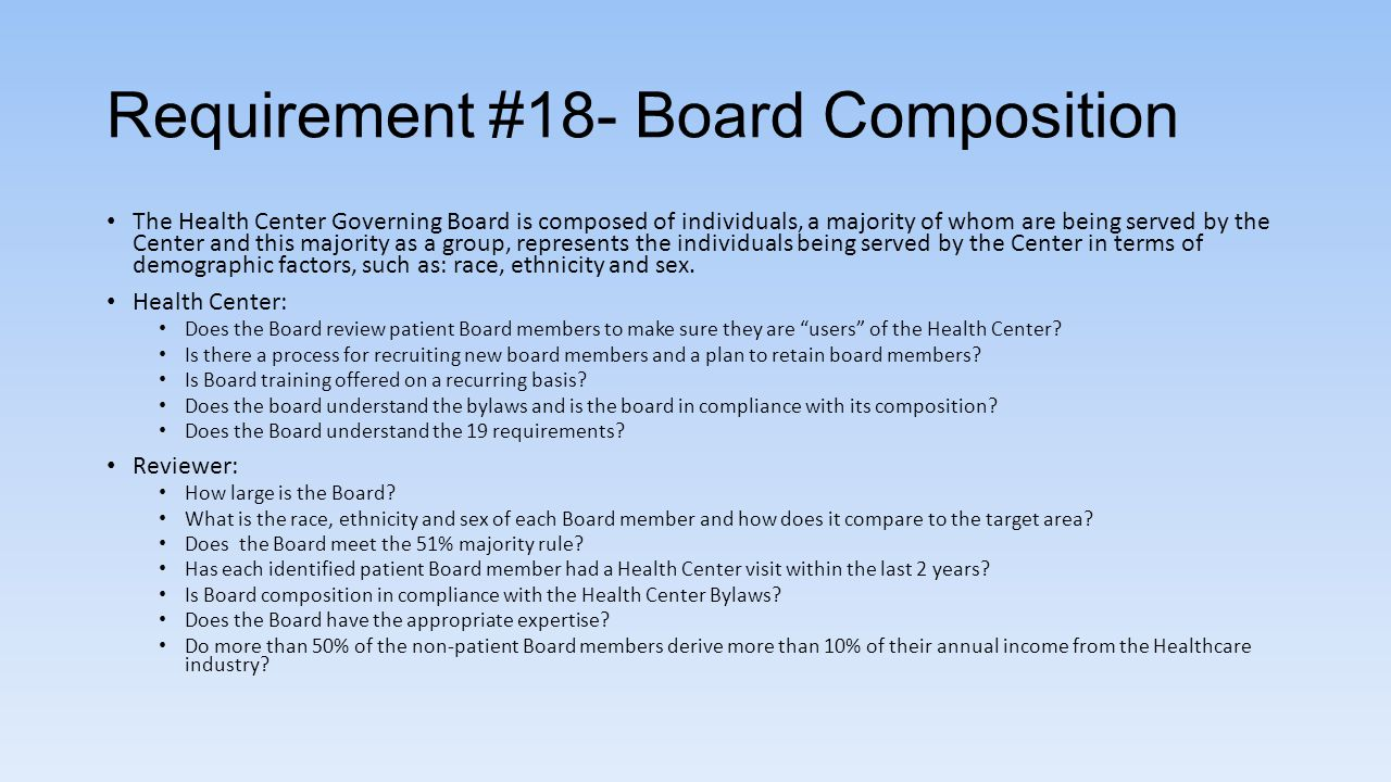 Requirement #18- Board Composition