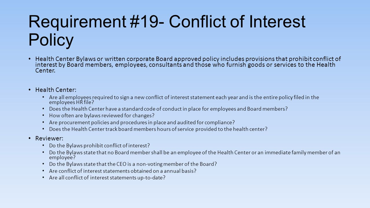 Requirement #19- Conflict of Interest Policy