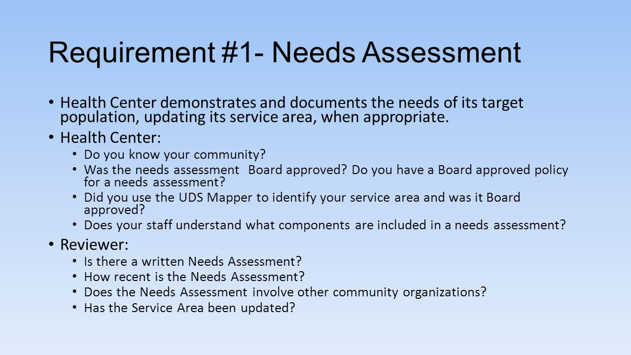 Requirement #1- Needs Assessment