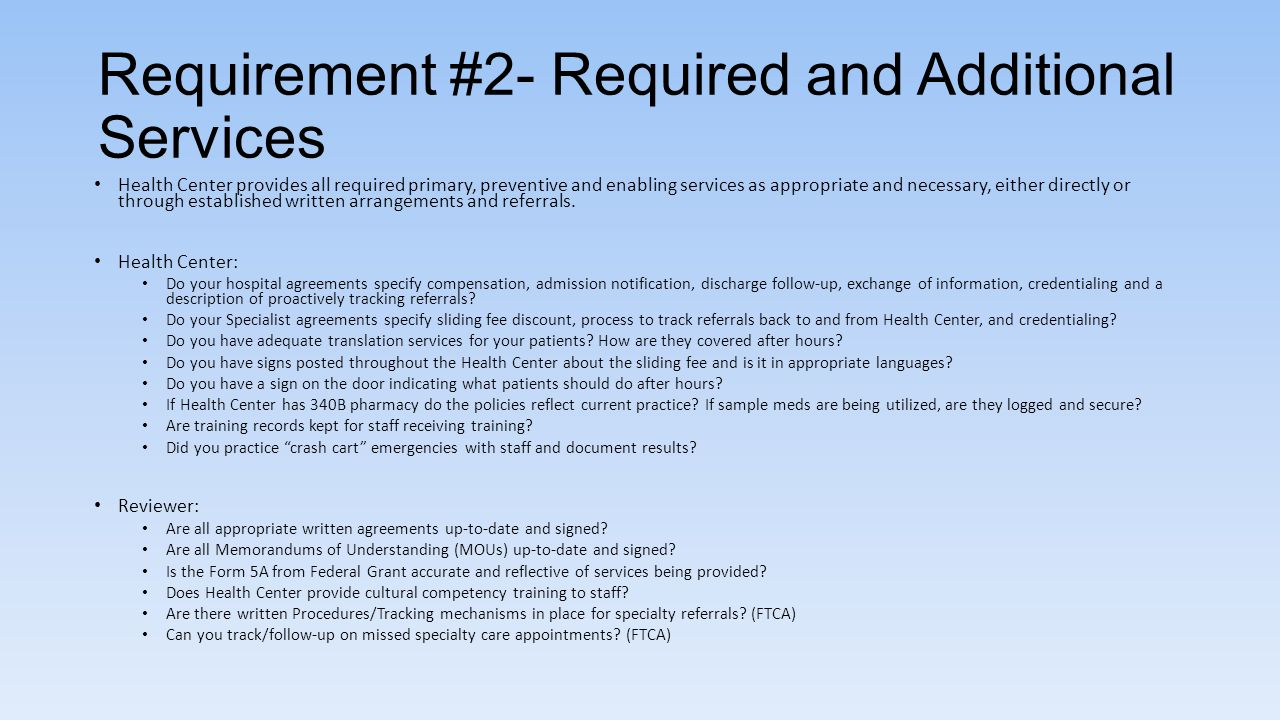 Requirement #2- Required and Additional Services