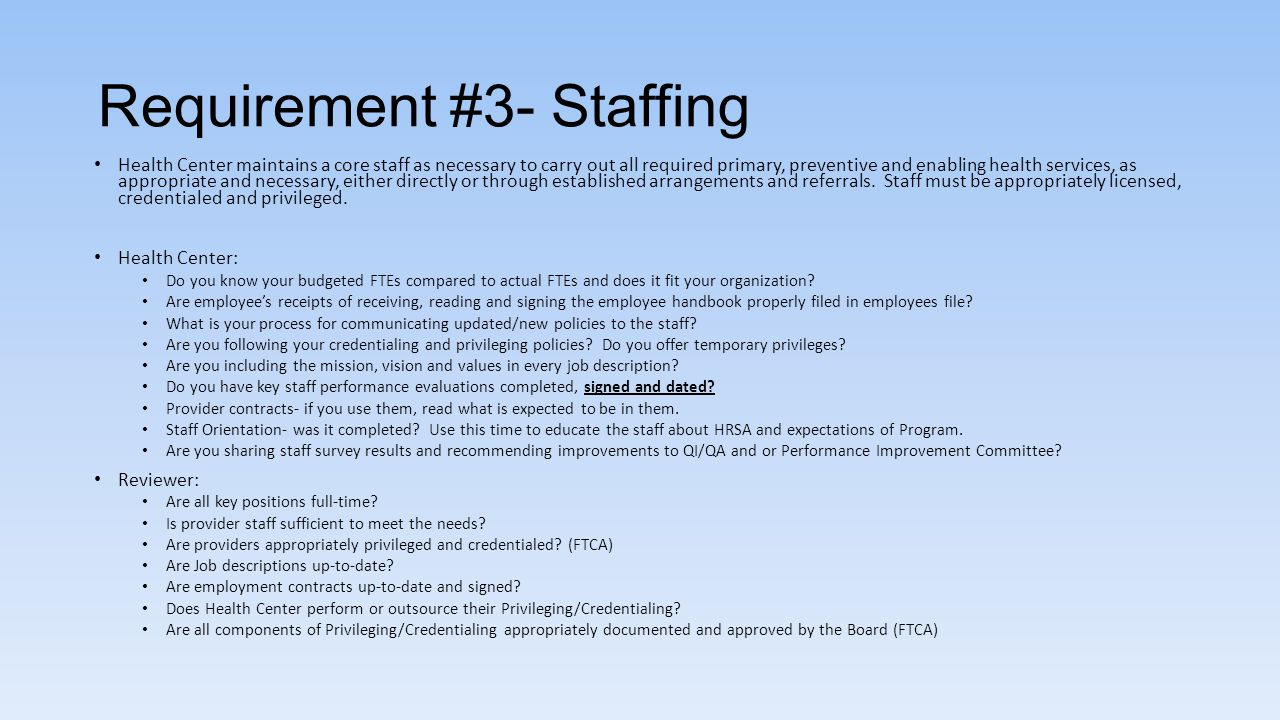 Requirement #3- Staffing