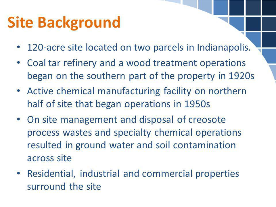 Site Background 120-acre site located on two parcels in Indianapolis.