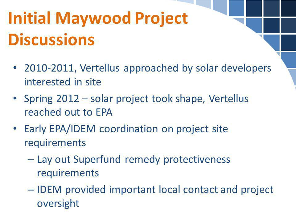 Initial Maywood Project Discussions