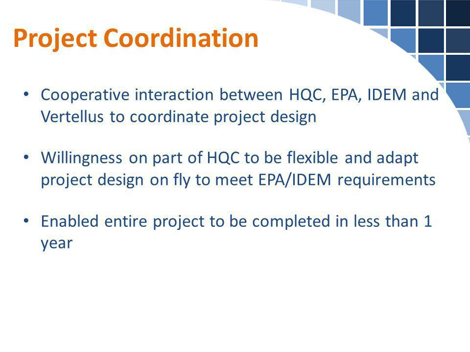 Project Coordination Cooperative interaction between HQC, EPA, IDEM and Vertellus to coordinate project design.