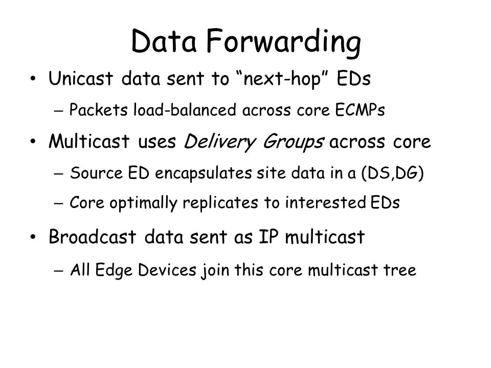 Data Forwarding Unicast data sent to next-hop EDs