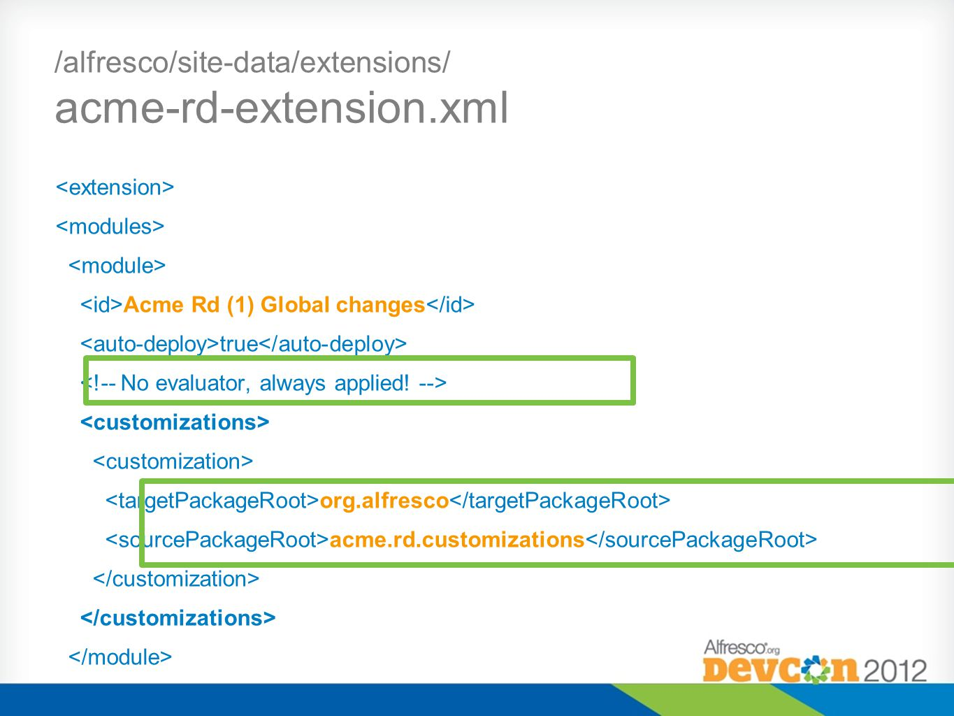 /alfresco/site-data/extensions/ acme-rd-extension.xml