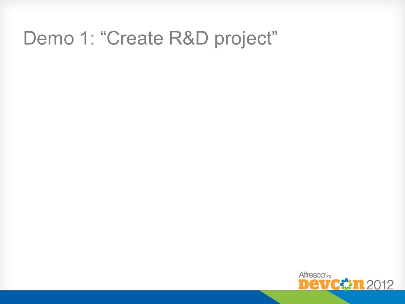 Demo 1: Create R&D project