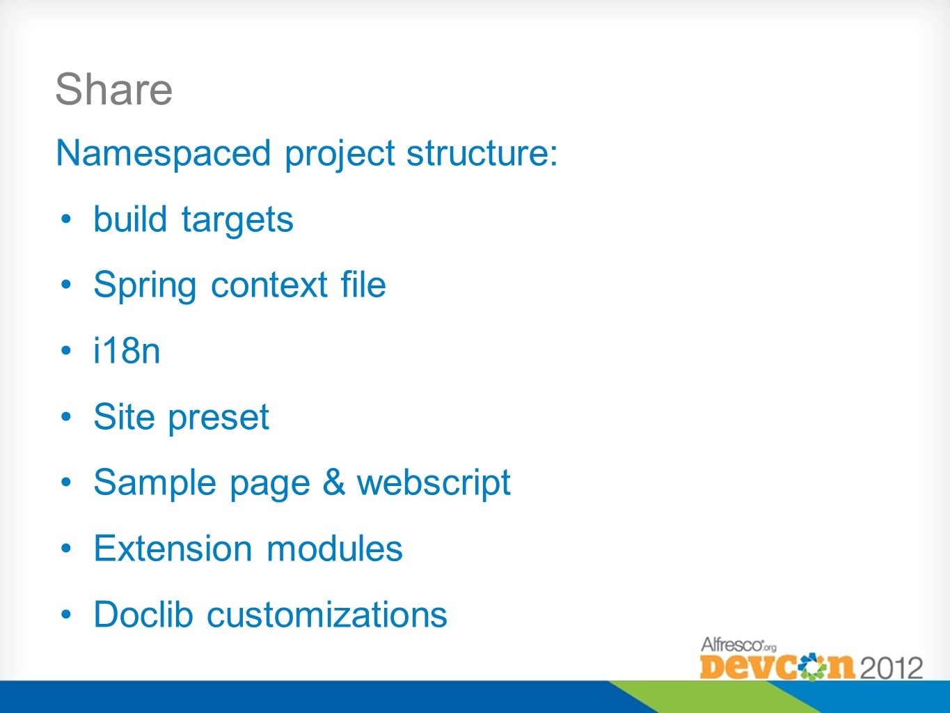 Share Namespaced project structure: build targets Spring context file