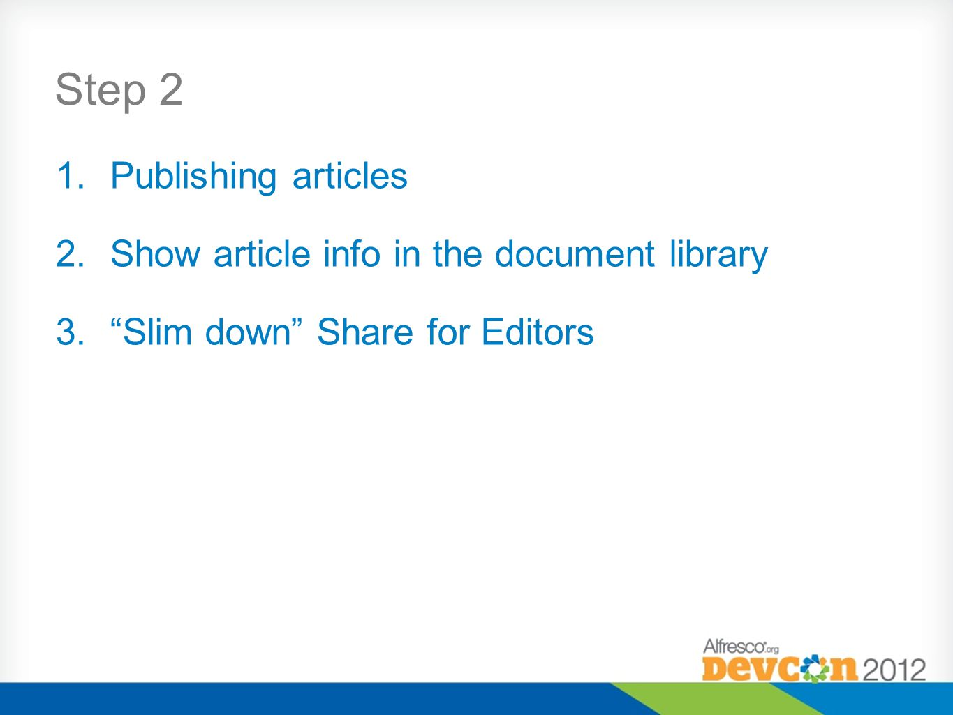 Step 2 Publishing articles Show article info in the document library