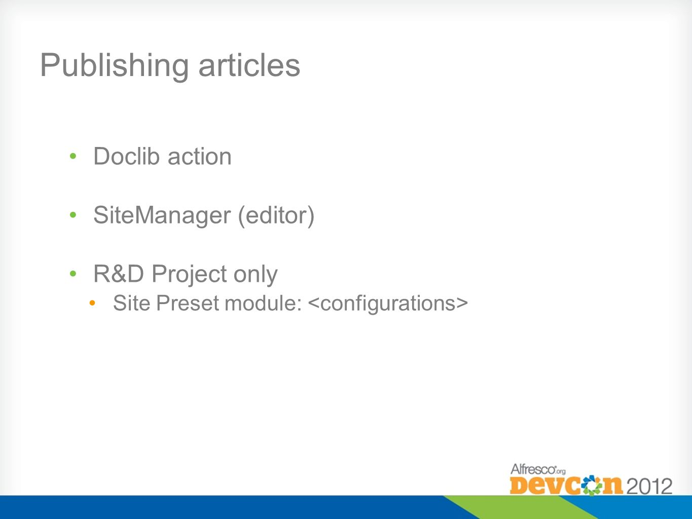 Publishing articles Doclib action SiteManager (editor)