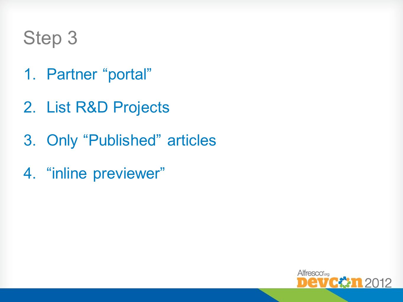 Step 3 Partner portal List R&D Projects Only Published articles
