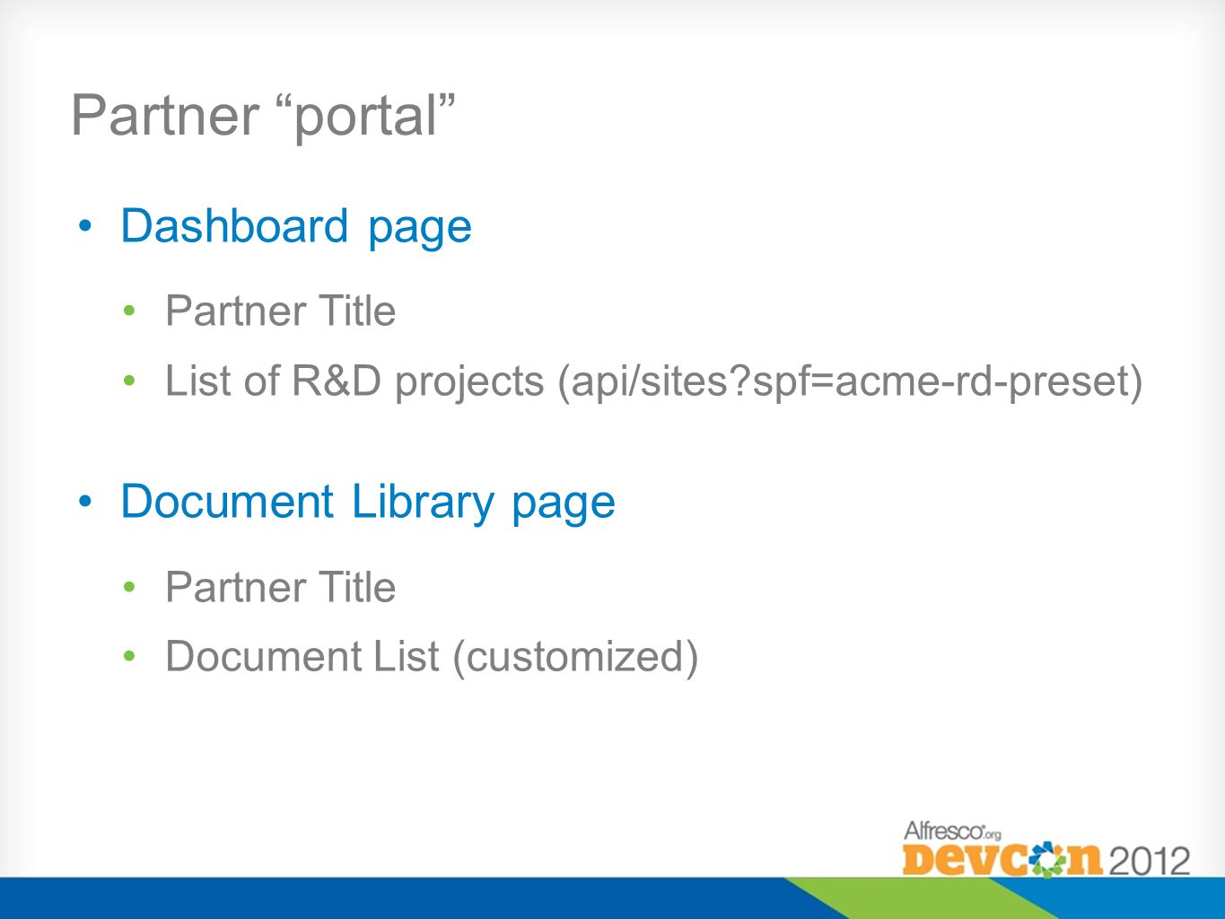 Partner portal Dashboard page Document Library page Partner Title