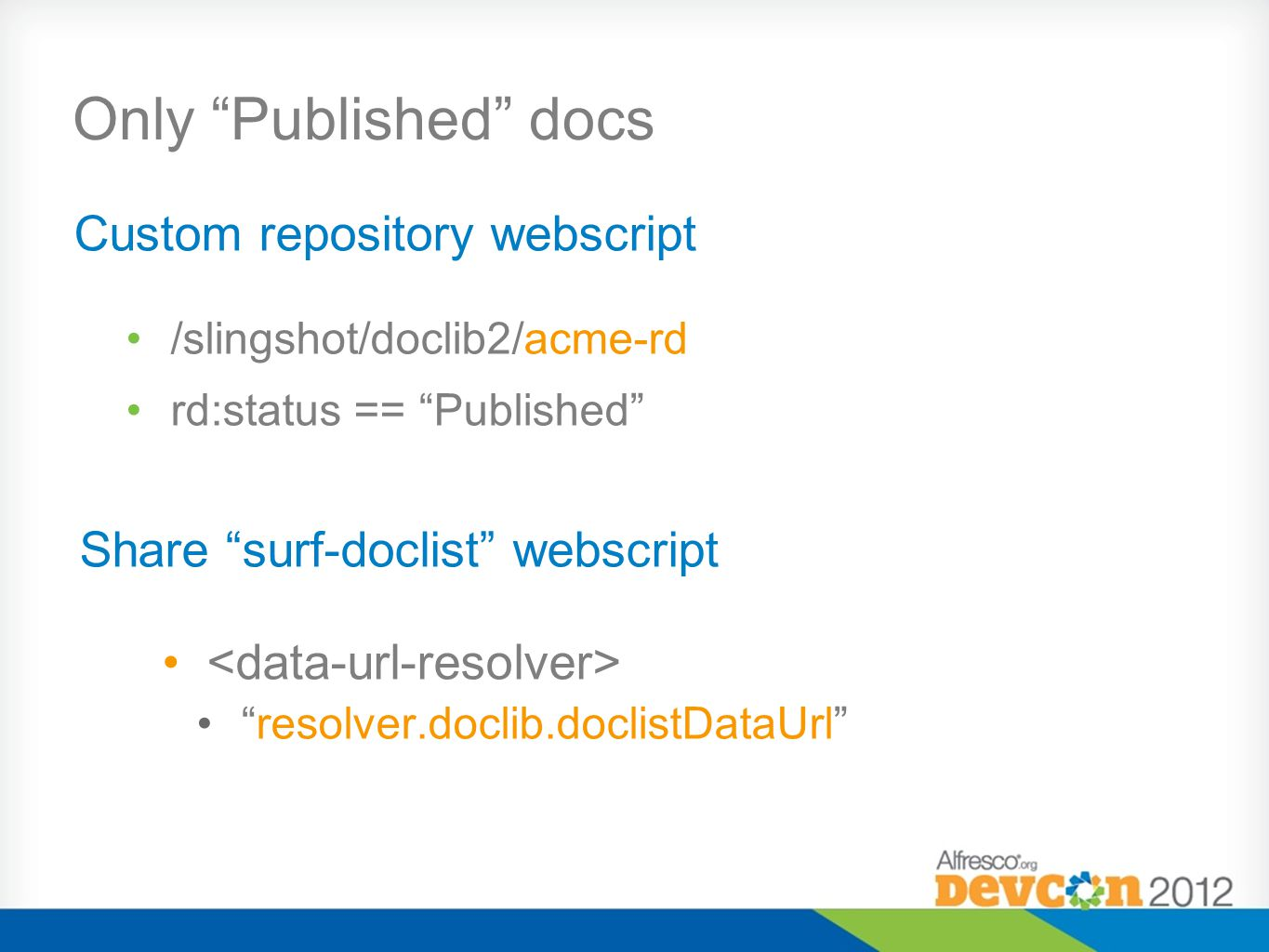 Only Published docs Custom repository webscript
