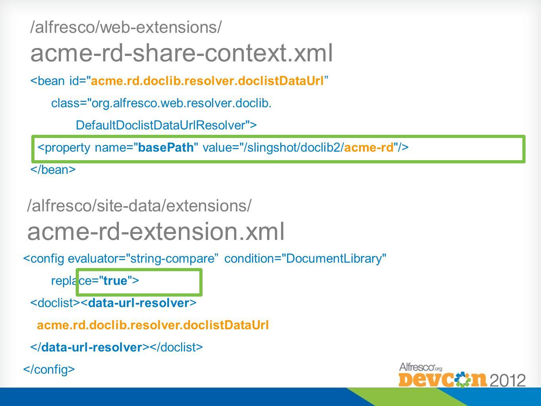 /alfresco/site-data/extensions/ acme-rd-extension.xml