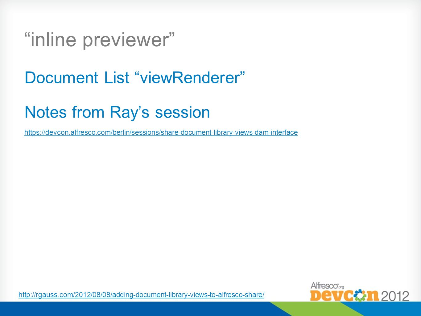 inline previewer Document List viewRenderer