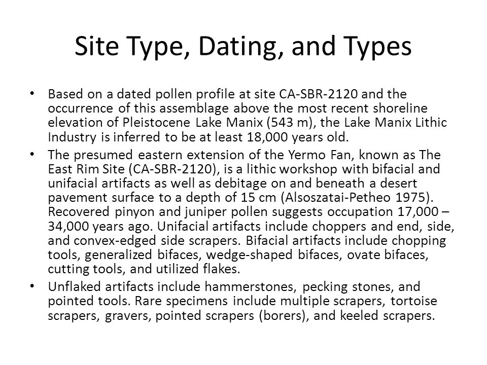 Site Type, Dating, and Types