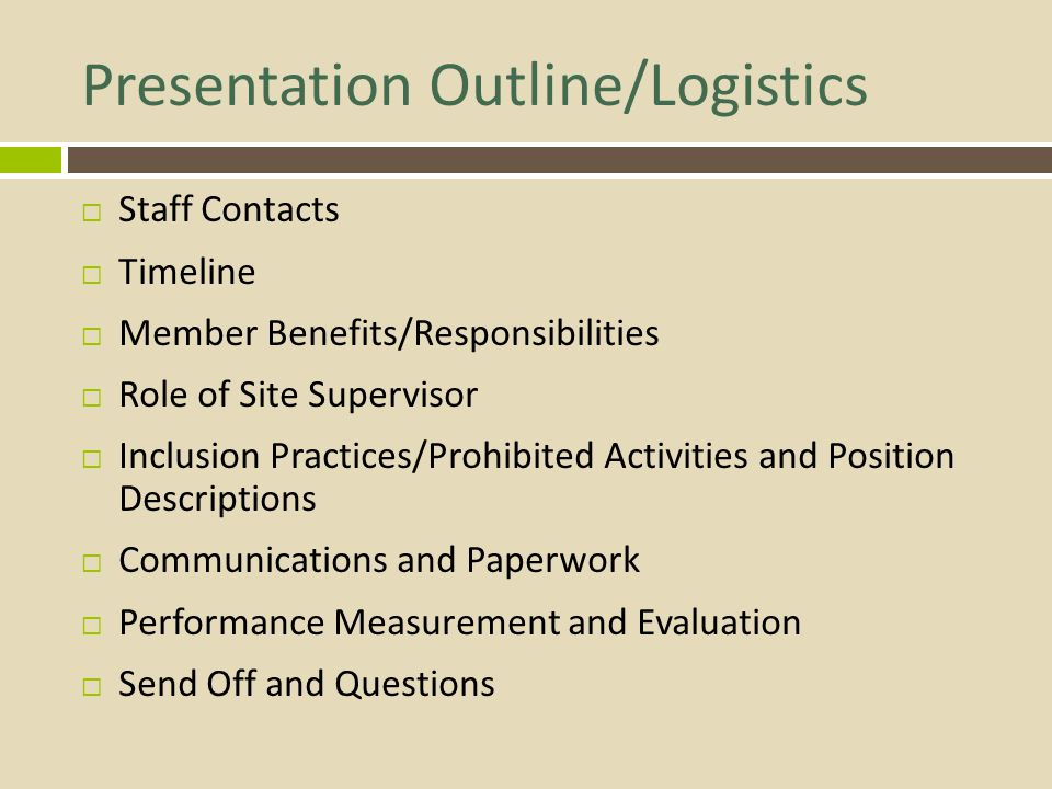 Presentation Outline/Logistics