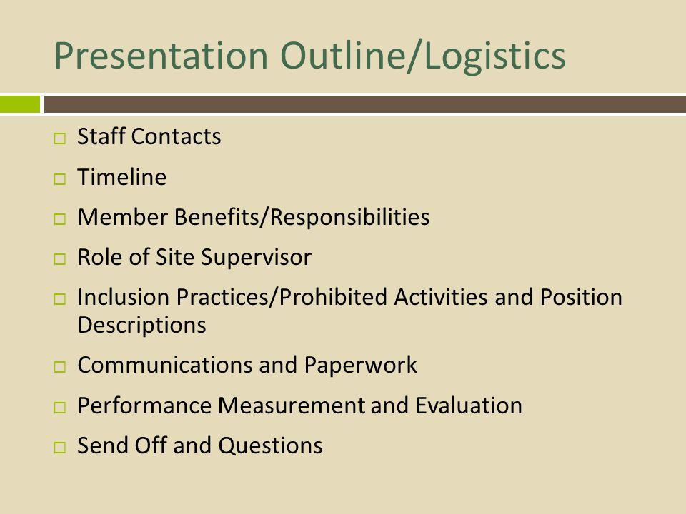 Presentation Outline/Logistics