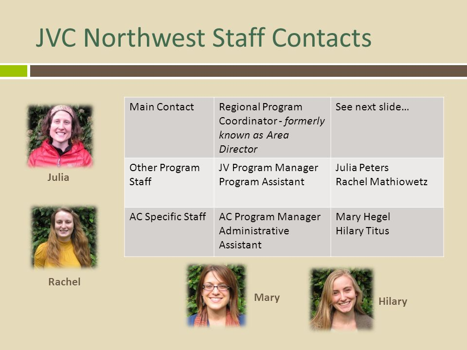 JVC Northwest Staff Contacts