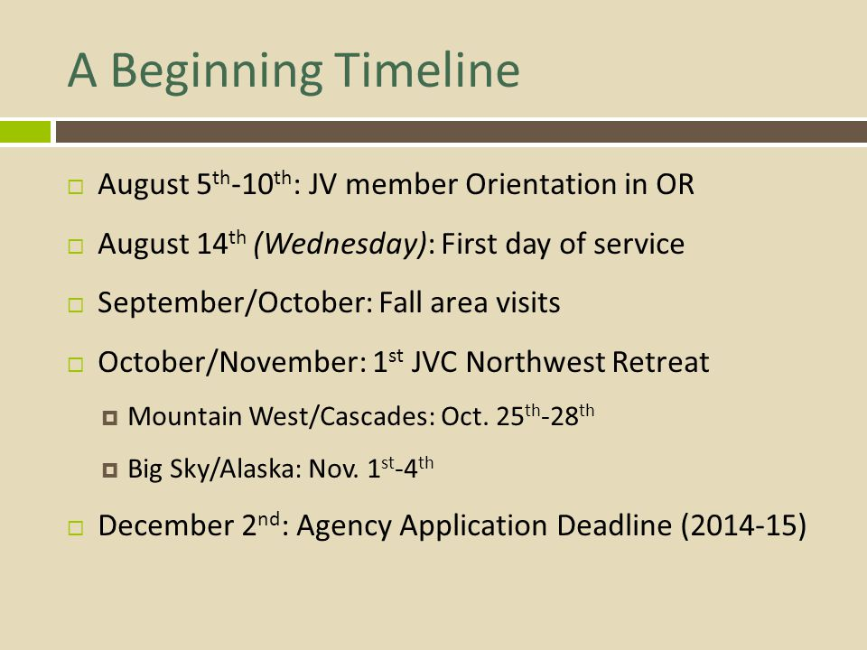 A Beginning Timeline August 5th-10th: JV member Orientation in OR