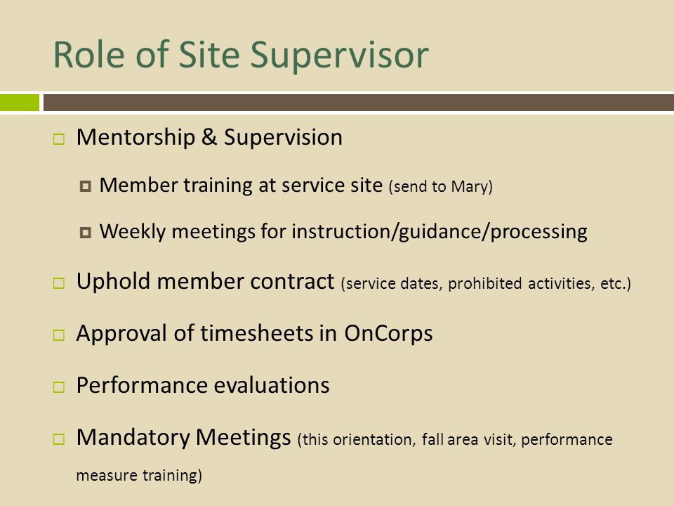 Role of Site Supervisor