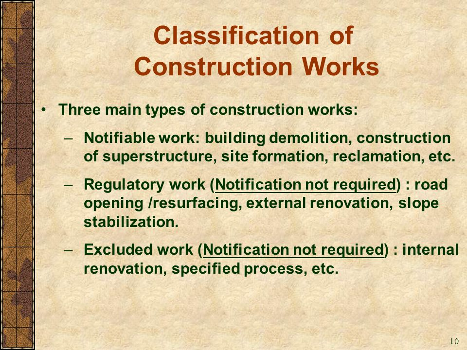 Classification of Construction Works