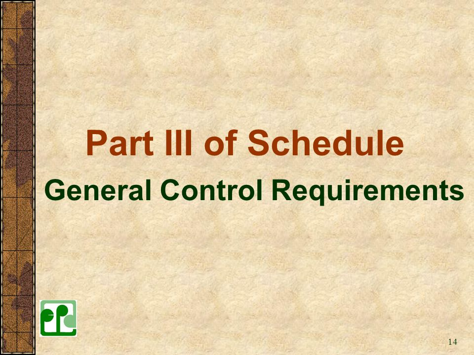 General Control Requirements