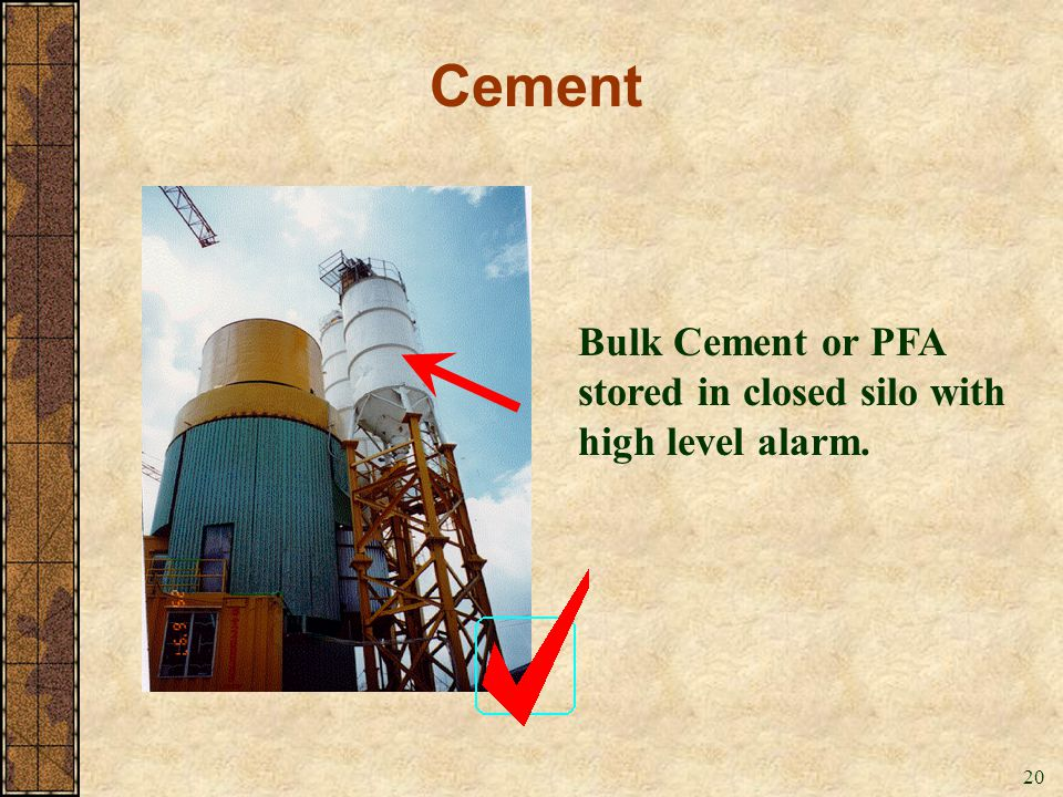 Cement Bulk Cement or PFA stored in closed silo with high level alarm.