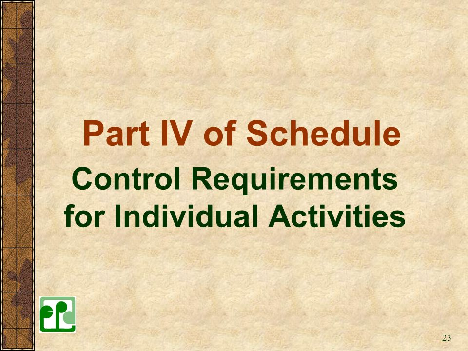 Control Requirements for Individual Activities