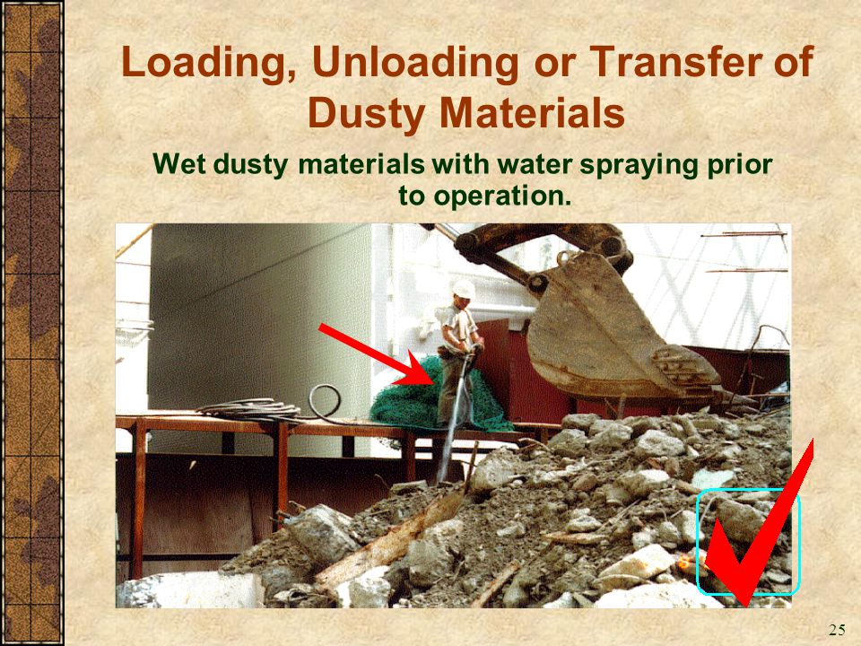 Loading, Unloading or Transfer of Dusty Materials