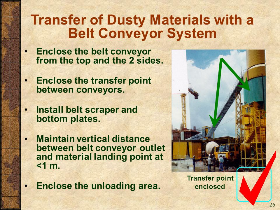 Transfer of Dusty Materials with a Belt Conveyor System
