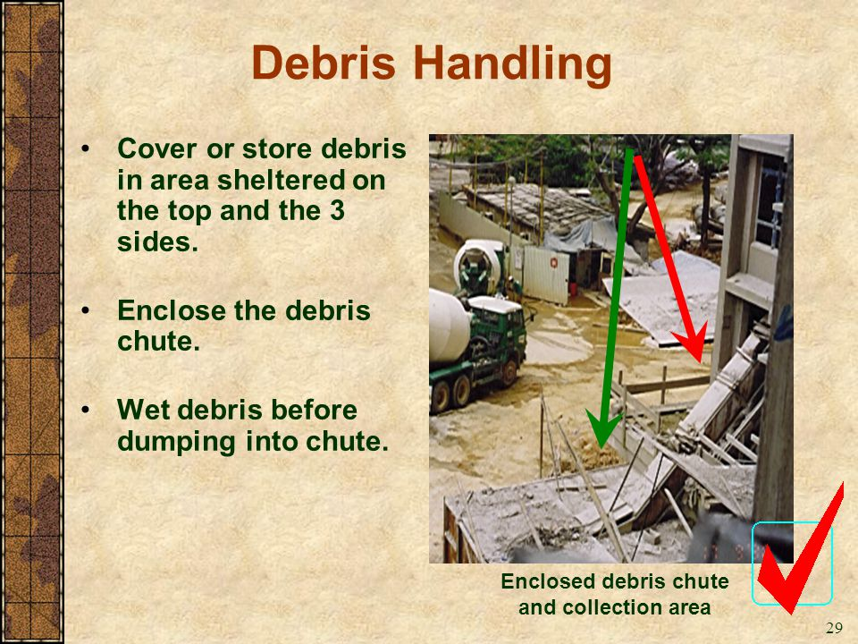 Enclosed debris chute and collection area