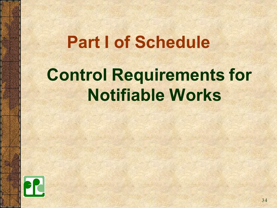 Control Requirements for Notifiable Works