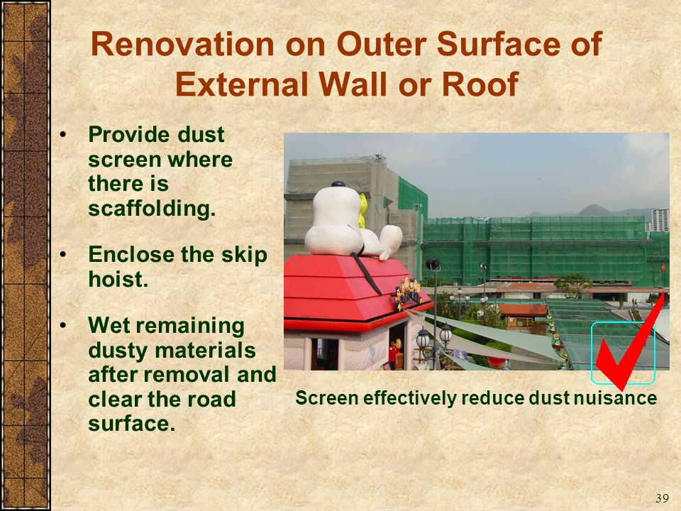 Renovation on Outer Surface of External Wall or Roof