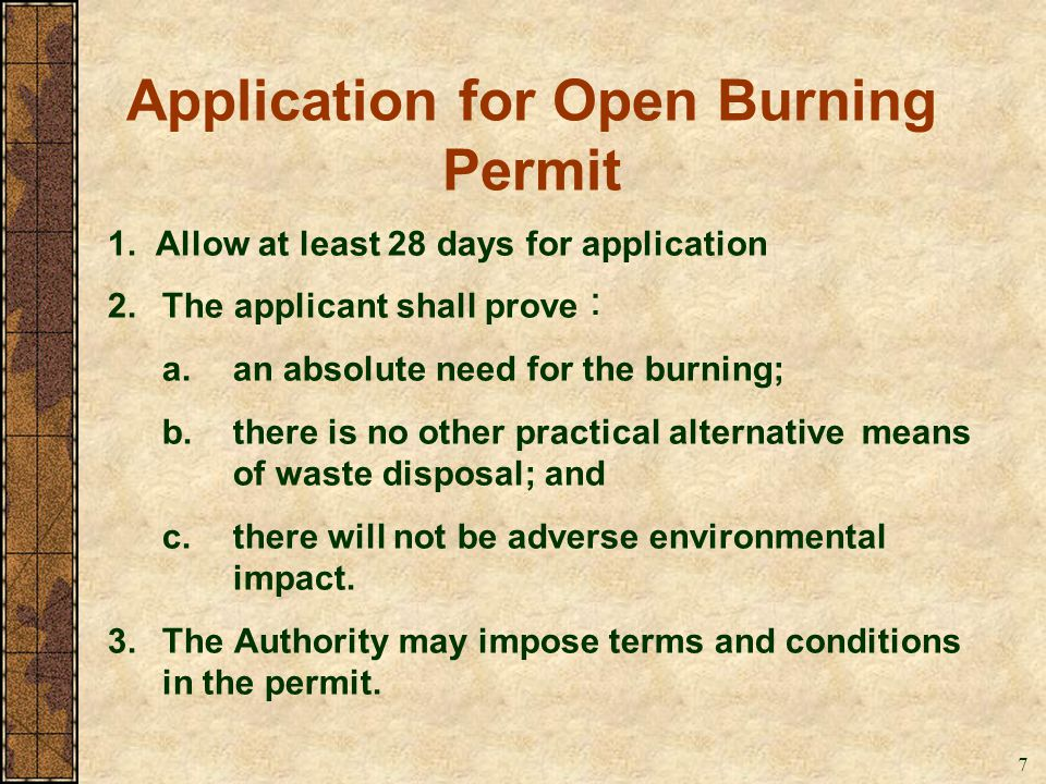 Application for Open Burning Permit