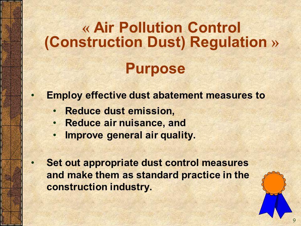(Construction Dust) Regulation »